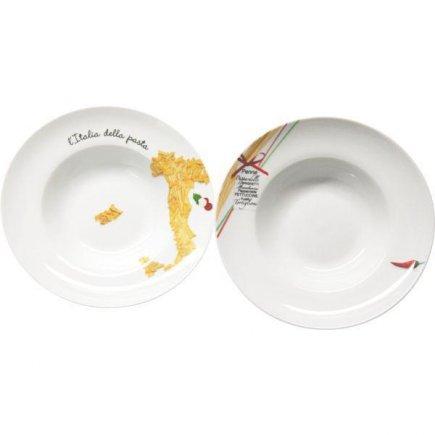 Talíř na těstoviny 270 mm, různé motivy Itálie, bílý, kulatý, Gastro
